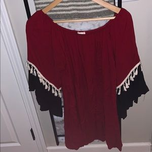 Red, white, and black blouse